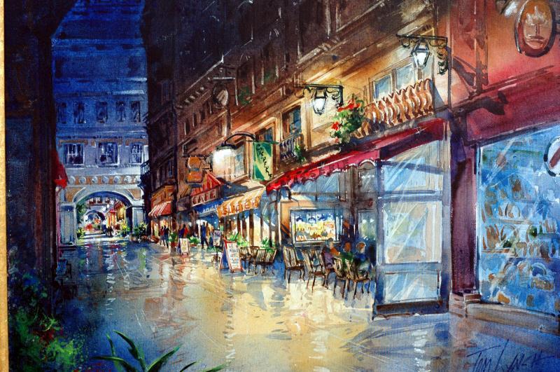 Cafe Row Watercolor On Canvas 16 X 24 Originals All Artwork Tom Lynch Fine Art World